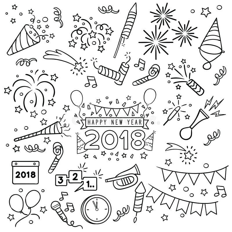 Ligne aspiration de célébration de nouvelle année illustration stock