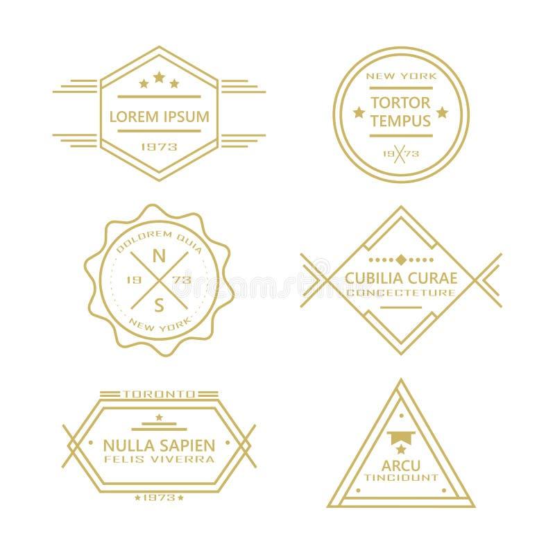 Ligne assortie rétro collection d'insignes et de labels de vintage illustration de vecteur