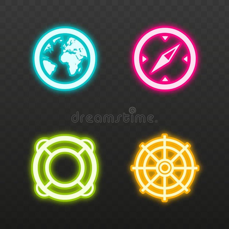 Ligne au néon ensemble d'effet d'icône Mettez à la terre le symbole de globe, de boussole, de bouée de sauvetage et de gouvernail illustration de vecteur