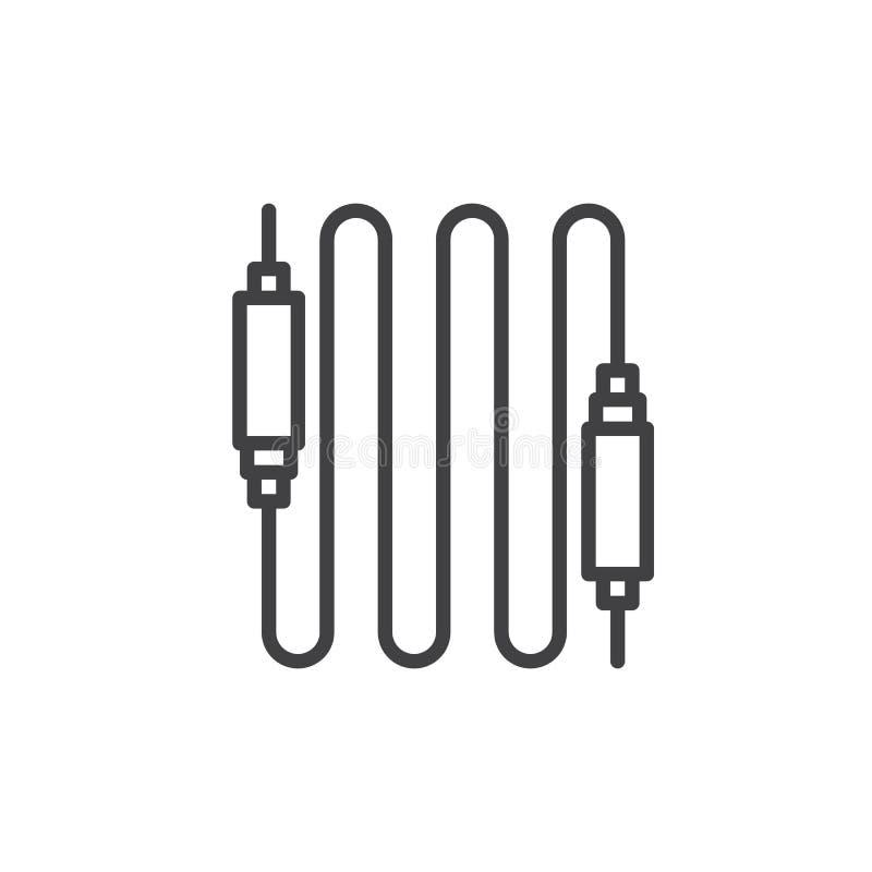 Ligne audio icône, signe de vecteur d'ensemble, pictogramme linéaire de câble de style d'isolement sur le blanc illustration libre de droits