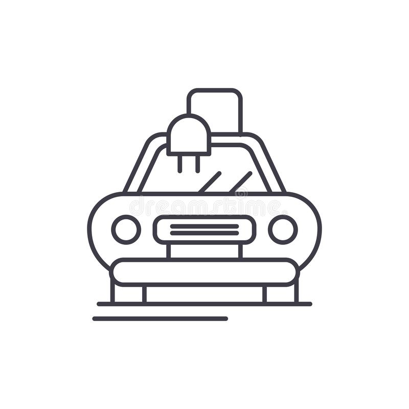 Ligne automatique électrique concept de voiture d'icône Illustration linéaire de vecteur automatique électrique de voiture, symbo illustration libre de droits
