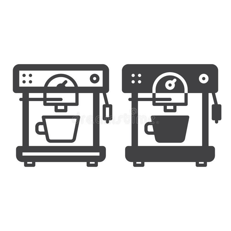 Ligne automatique de machine de café et icône solide, contour et pictogramme de signe de vecteur, linéaire et plein rempli d'isol illustration stock