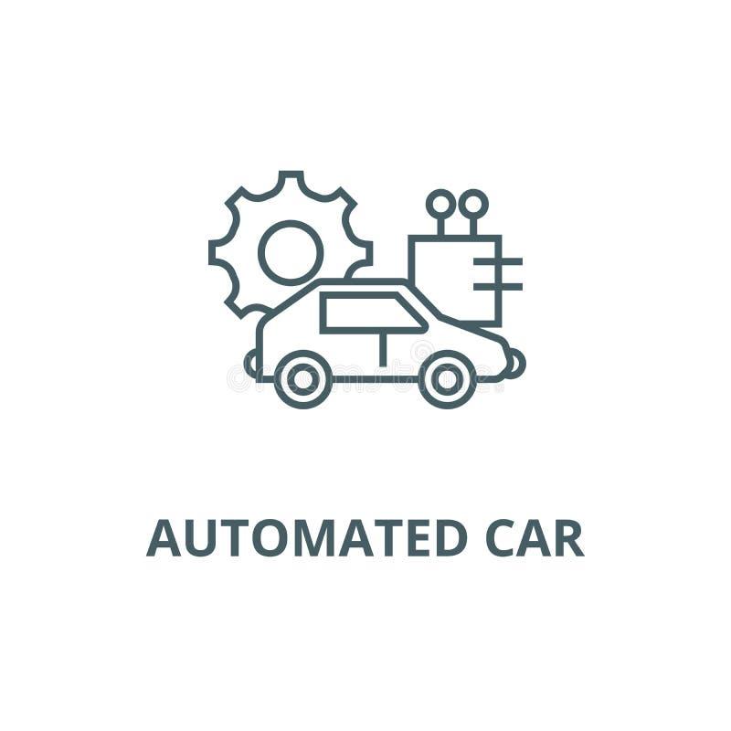 Ligne automatisée icône, vecteur de voiture Signe automatisé d'ensemble de voiture, symbole de concept, illustration plate illustration stock