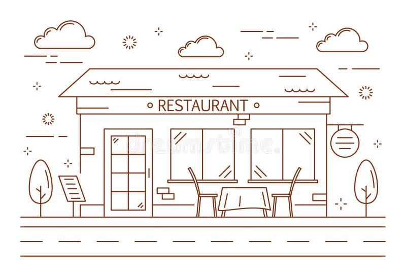 Ligne bâtiment de restaurant illustration libre de droits