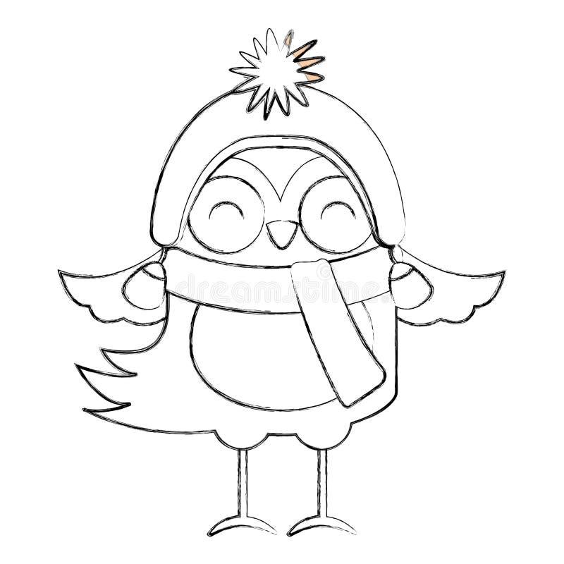 Ligne bande dessinée d'oiseau de Noël d'icône illustration stock