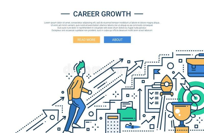 Ligne bannière plate de croissance de carrière de site Web de conception illustration stock