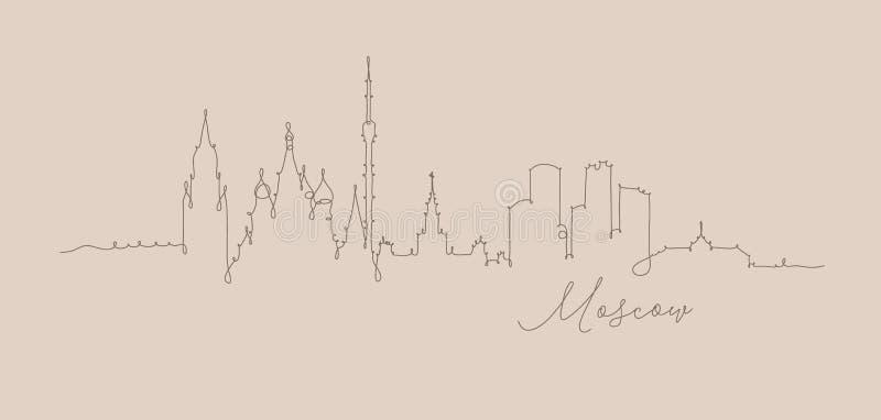 Ligne beige de stylo de Moscou de silhouette illustration de vecteur
