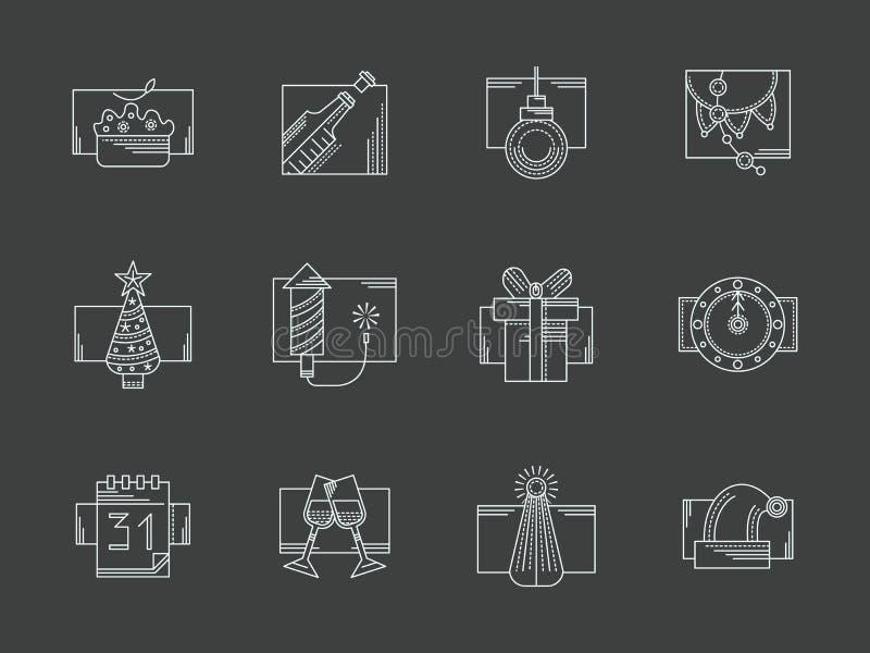 Ligne blanche icônes de célébration de nouvelle année réglées illustration stock