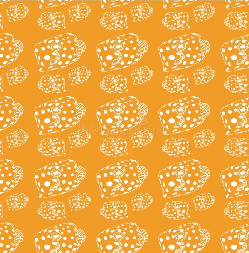Ligne blanche modèle de poissons sur un fond jaune illustration stock
