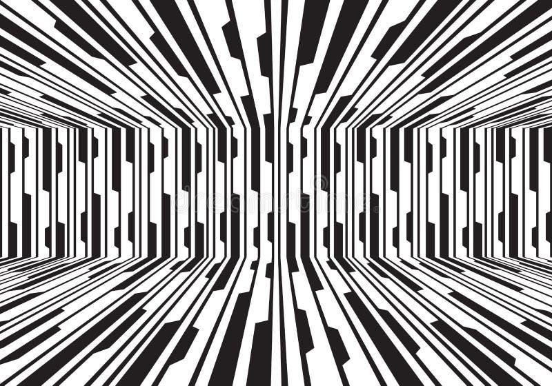 Ligne blanche noire vecteur futuriste moderne de résumé de fond de conception de salle 3D de circuit illustration stock