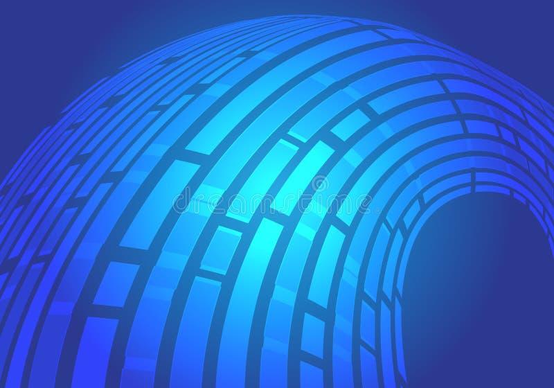 Ligne bleue abstraite vecteur futuriste moderne de fond de conception de mouvement de lumière de données d'écoulement de courbe illustration libre de droits