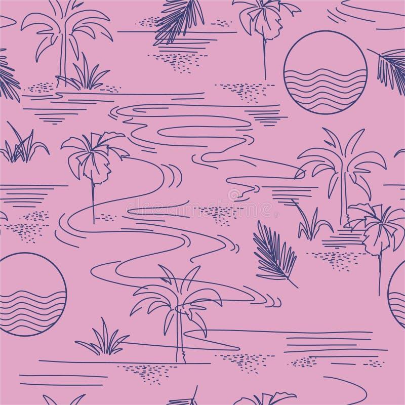 Ligne bleue d'été élégant modèle sans couture d'humeur tropicale minimale moderne d'île sur la conception de vecteur pour la mode illustration de vecteur