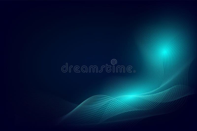Ligne bleue de particules conception moderne de fond d'abrégé sur vague avec l'espace de copie, illustration de vecteur pour vos  illustration stock