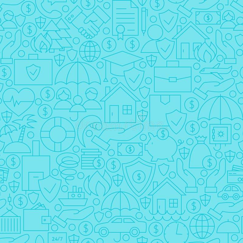 Ligne bleue mince modèle sans couture d'assurance illustration de vecteur