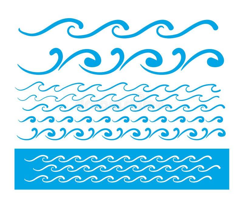 Ligne bleue modèle de vague de vecteur sans couture illustration stock