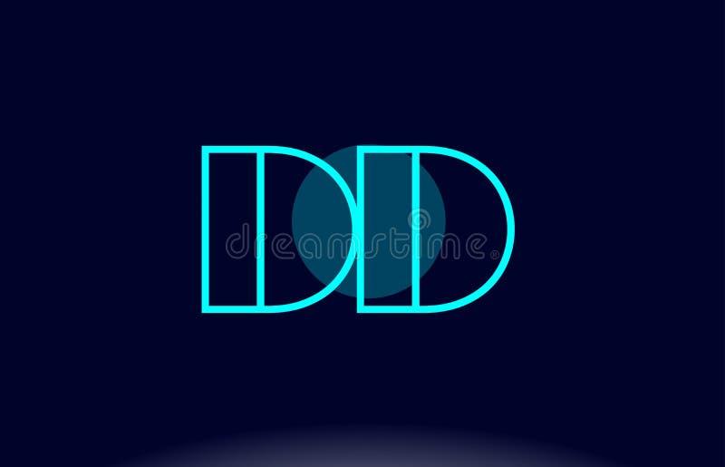 ligne bleue vecto de la densité double d d de calibre d'icône de logo de lettre d'alphabet de cercle illustration libre de droits