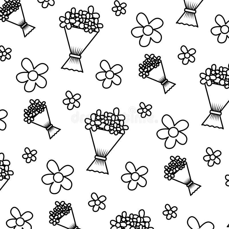 Ligne bouquet tropical avec le fond de fleurs de nature illustration libre de droits