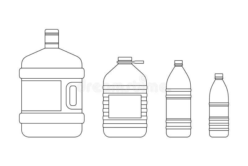 Ligne bouteilles pour l'eau illustration de vecteur