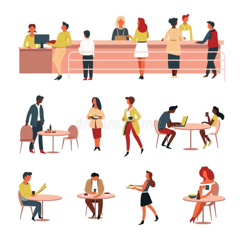 Ligne caisse de cantine et nourriture et boisson de tables illustration libre de droits
