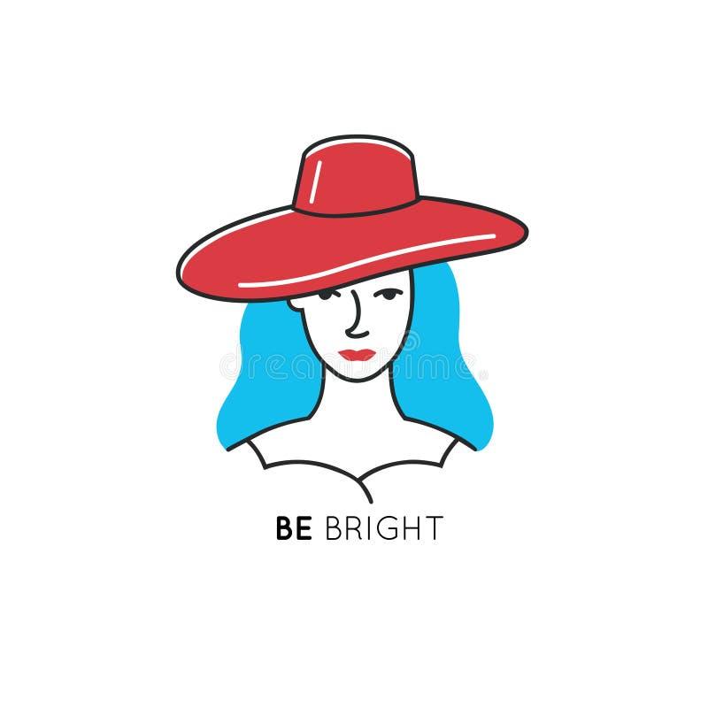Ligne calibre d'icône de style avec la femme dans le chapeau rouge et les cheveux bleus Symbole de beauté illustration libre de droits