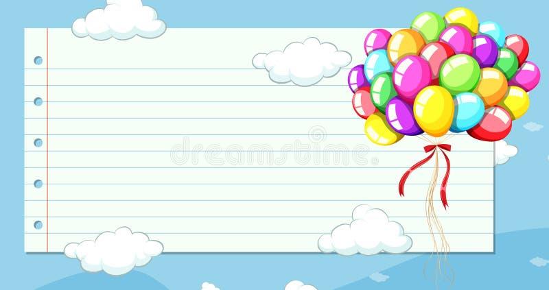 Ligne calibre de papier avec des ballons en ciel illustration libre de droits