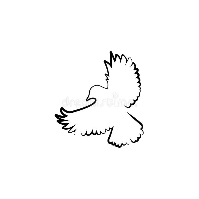 Ligne calligraphique volante silhouette de colombe d'isolement sur le fond blanc illustration libre de droits