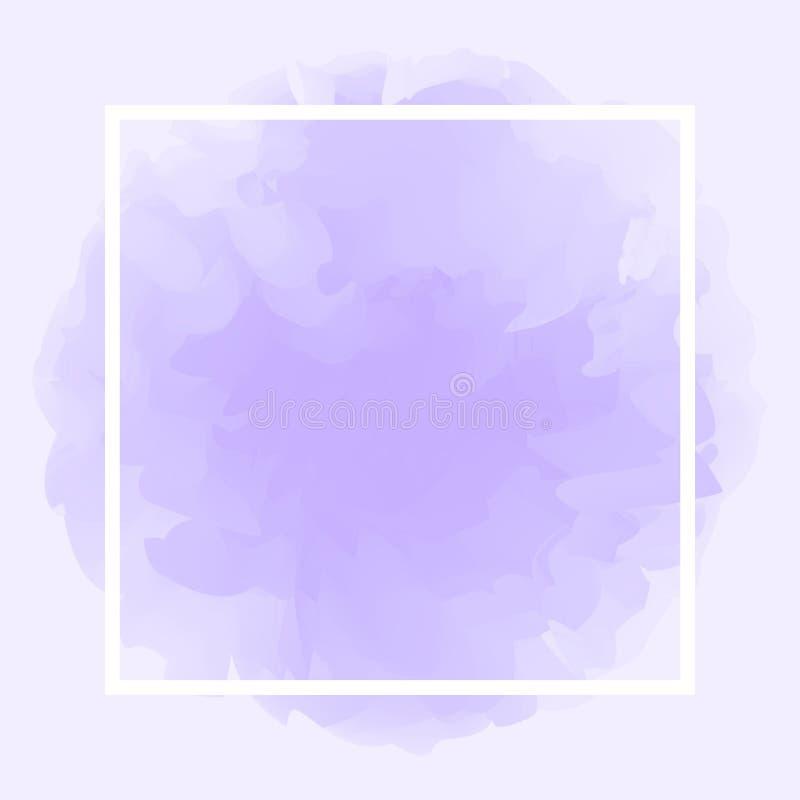 Ligne carrée blanc sur le fond mou pourpre abstrait, cadre vide sur l'espace pourpre en pastel de calibre et de copie d'art de co illustration libre de droits