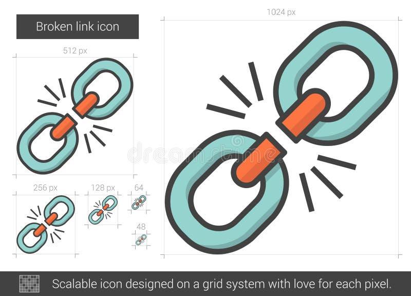 Ligne cassée icône de lien illustration de vecteur