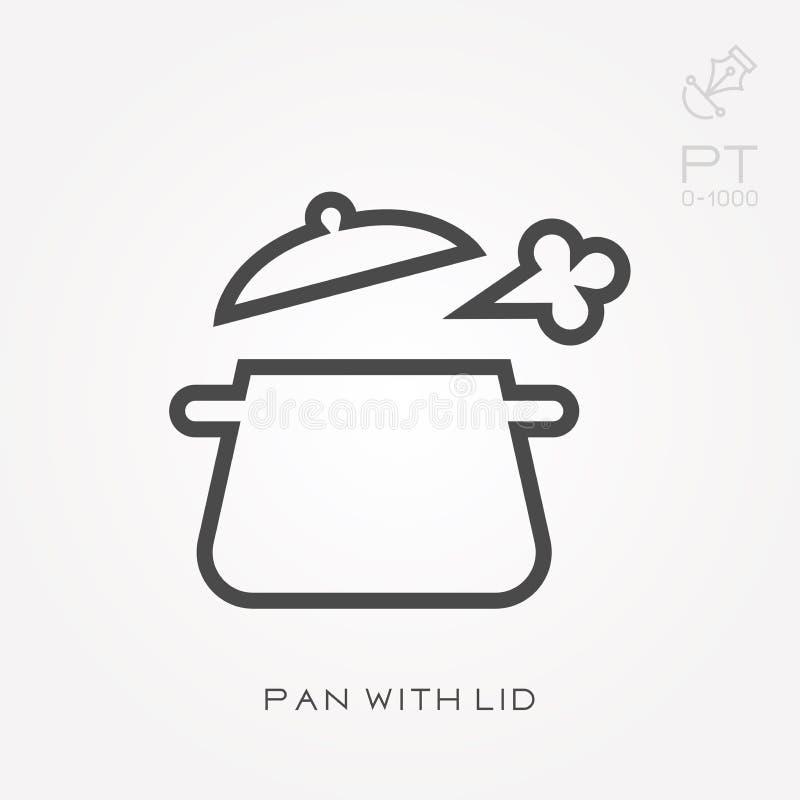 Ligne casserole d'icône avec le couvercle illustration stock