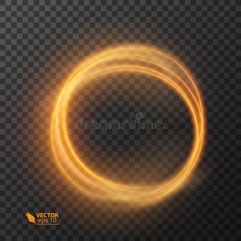 Ligne cercle d'effet de la lumière de vecteur d'or Trace légère rougeoyante d'anneau du feu Effet magique de traînée de remous d' illustration stock