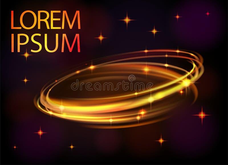 Ligne cercle de vecteur d'effet de la lumière d'or Trace légère magique rougeoyante d'anneau de fusée du feu Effet de traînée de  illustration libre de droits