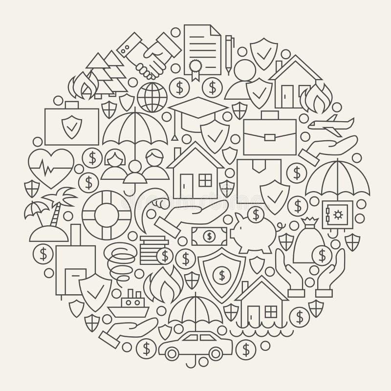 Ligne cercle réglé par icônes de services d'assurance illustration libre de droits