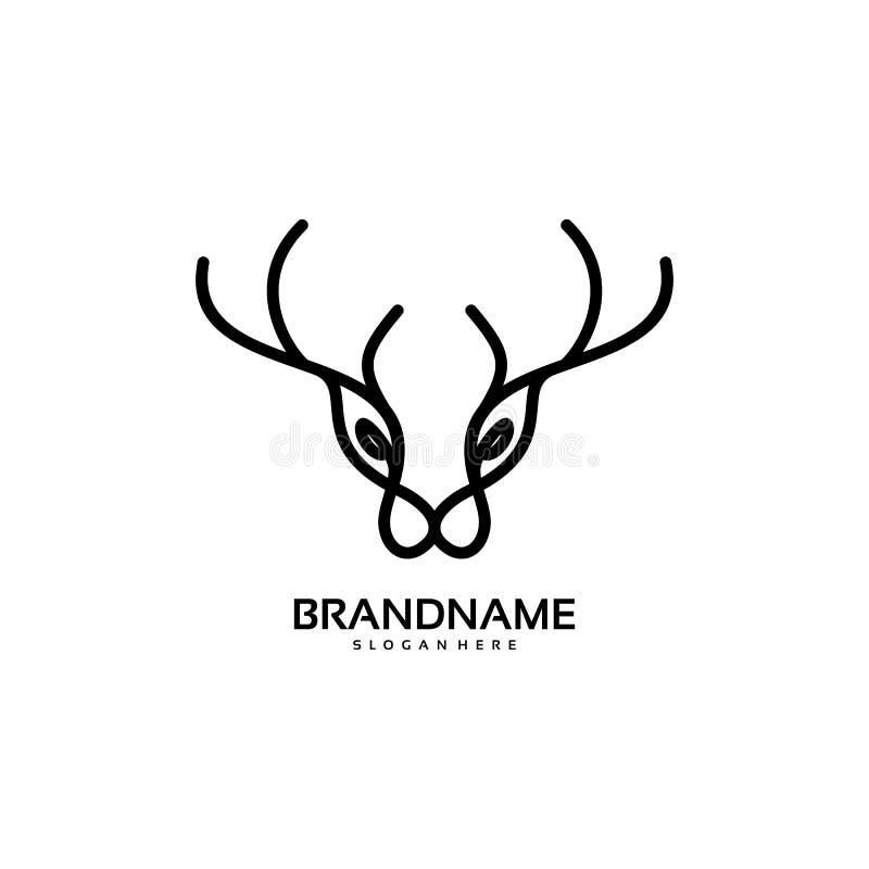 Ligne cerf commun Logo Design Template simple illustration de vecteur