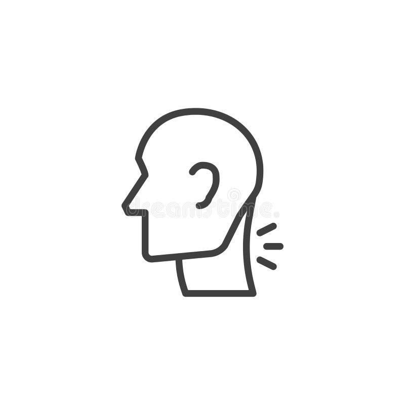 Ligne cervicale icône de douleur d'épine illustration stock