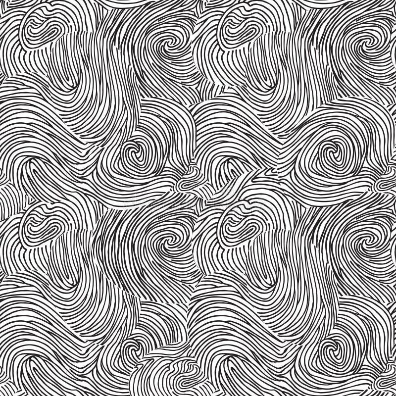 Ligne chaotique modèle sans couture de remous abstrait de griffonnage Amusement sur la plage illustration stock