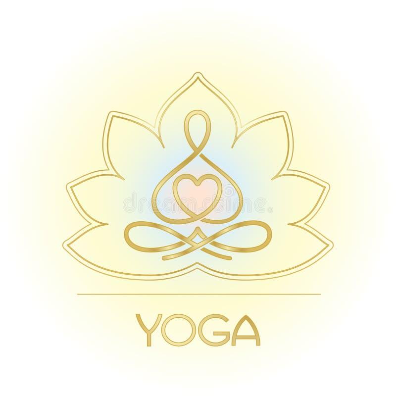 Ligne chiffre de Lotus pour un centre de yoga illustration de vecteur