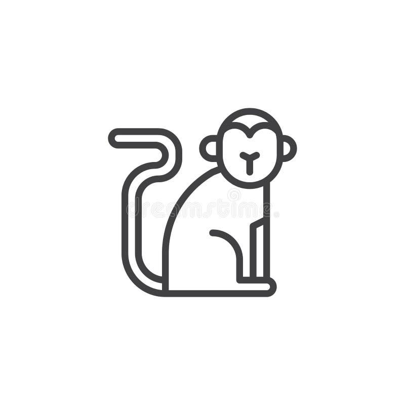 Ligne chinoise icône de singe de zodiaque illustration libre de droits