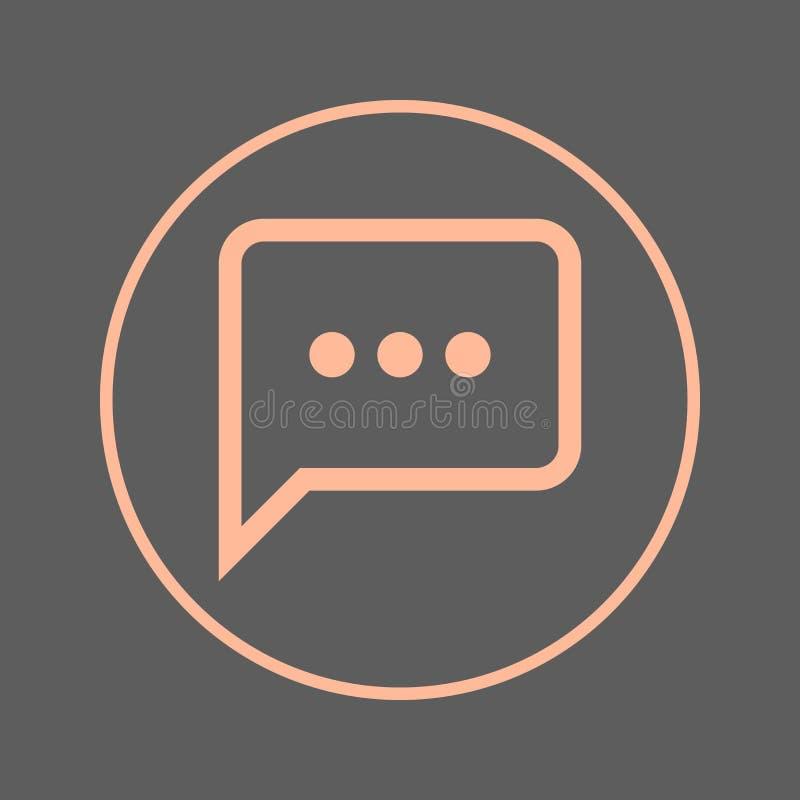 Ligne circulaire icône de bulle de la parole de causerie Signe coloré rond Symbole plat de vecteur de style illustration libre de droits