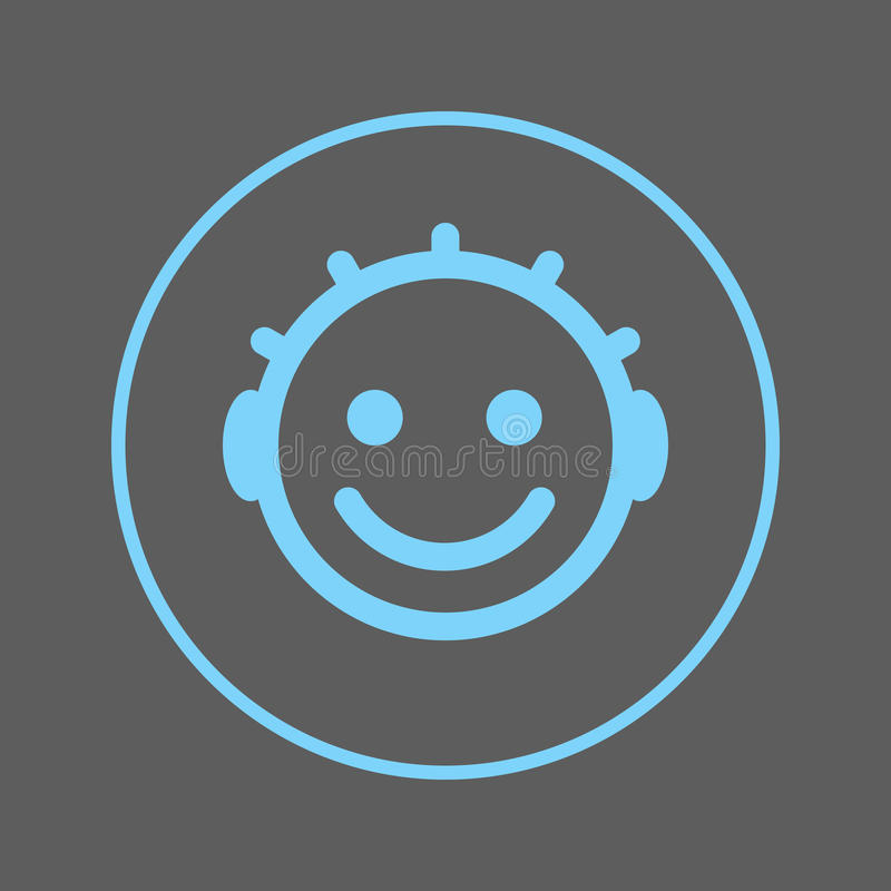 Ligne circulaire icône de sourire de visage de bébé Signe coloré rond Symbole plat de vecteur de style illustration de vecteur