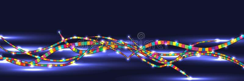 Ligne colorée bannière lumineuse foncée illustration libre de droits