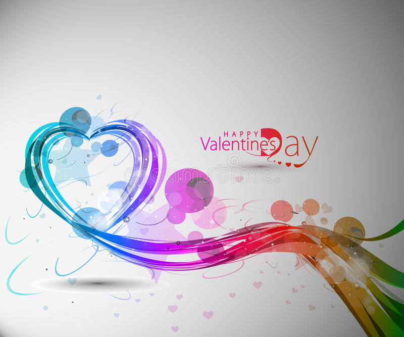 Ligne colorée coeur de d'onde d'arc-en-ciel de jour de Valentines illustration de vecteur