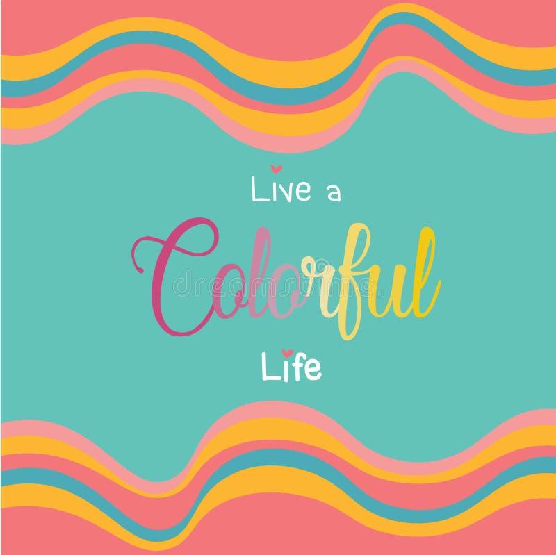 Ligne colorée d'horizon de vague de lucette de vintage sur le fond vert en bon état avec vivant un mot coloré de la vie au milieu illustration libre de droits