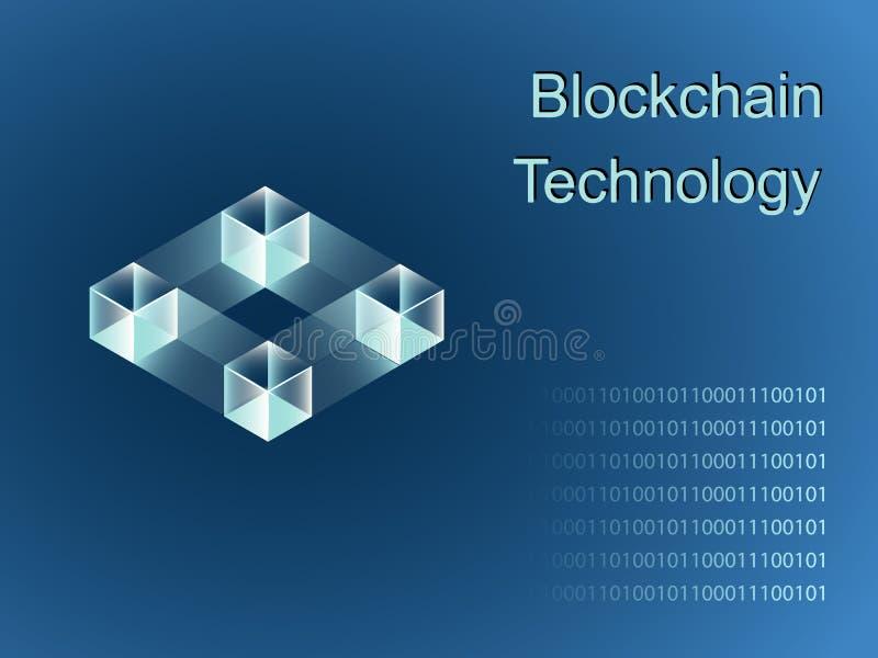 Ligne colorée icône ou logo de vecteur de Blockchain illustration stock