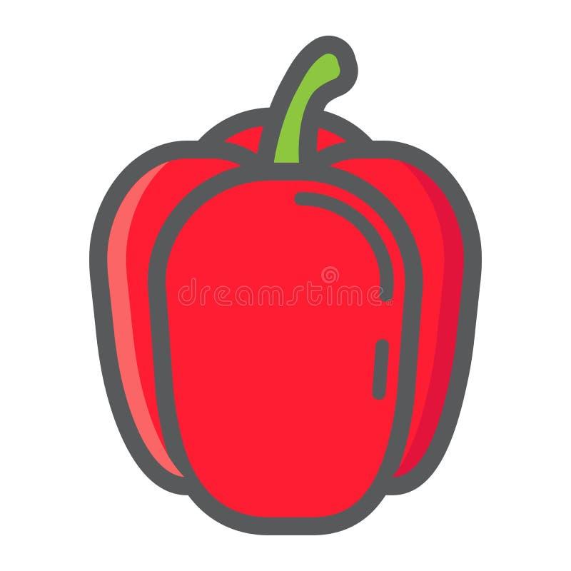 Ligne colorée icône, légume de paprika illustration stock