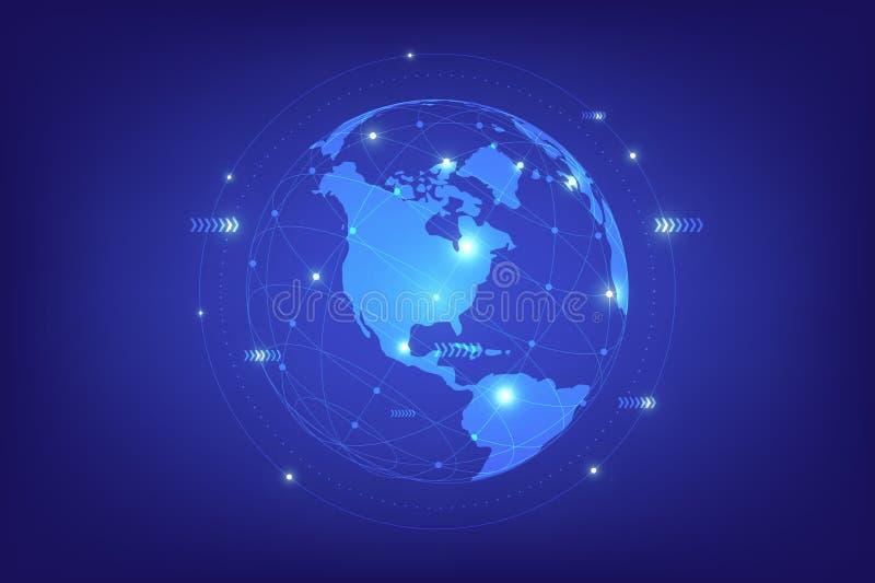 Ligne composition de point de carte du monde représentant la connexion réseau globale illustration libre de droits