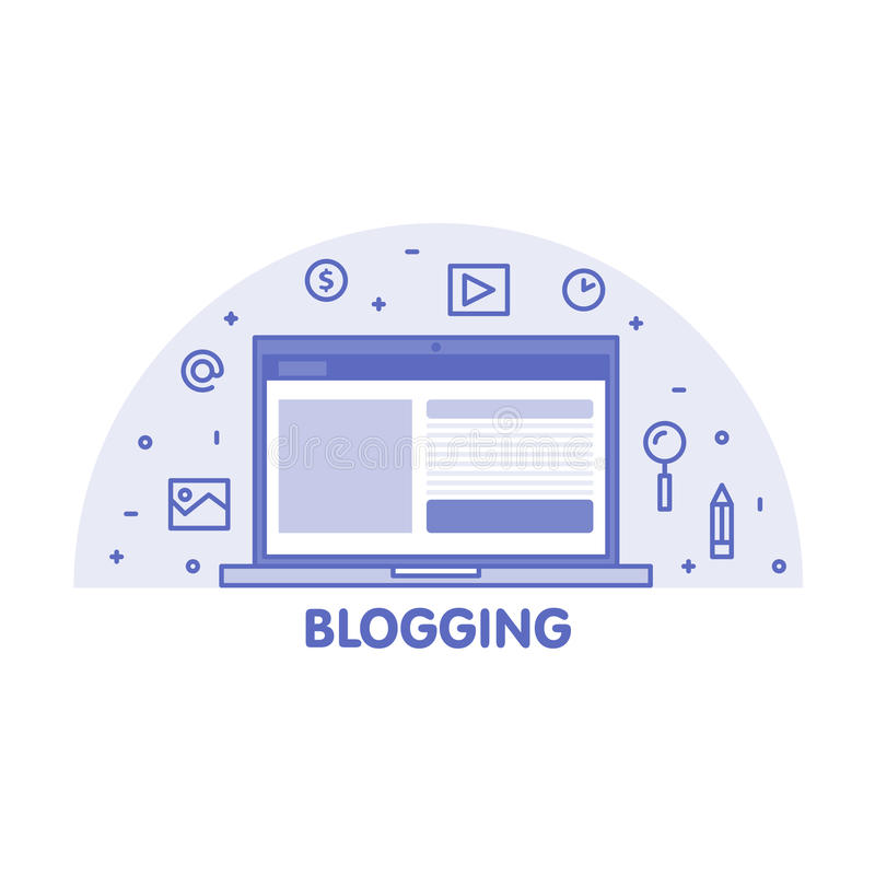 Ligne concept Blogging Écran d'ordinateur portable et illustration réglée d'icône illustration de vecteur