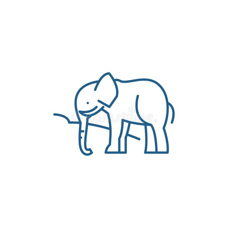 Ligne concept d'éléphant d'Asie d'icône Symbole plat de vecteur d'éléphant d'Asie, signe, illustration d'ensemble illustration libre de droits
