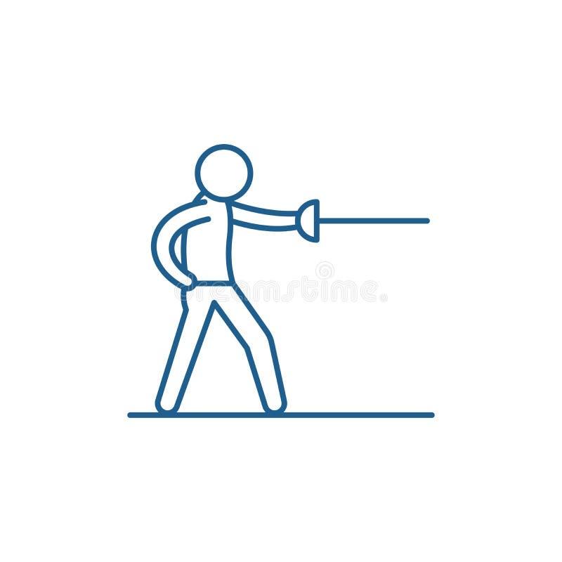 Ligne concept d'épéiste d'icône Symbole plat de vecteur d'épéiste, signe, illustration d'ensemble illustration stock