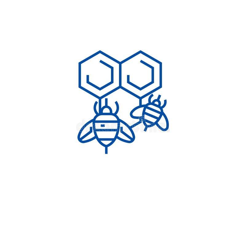 Ligne concept d'abeille de miel d'icône Symbole plat de vecteur d'abeille de miel, signe, illustration d'ensemble illustration de vecteur