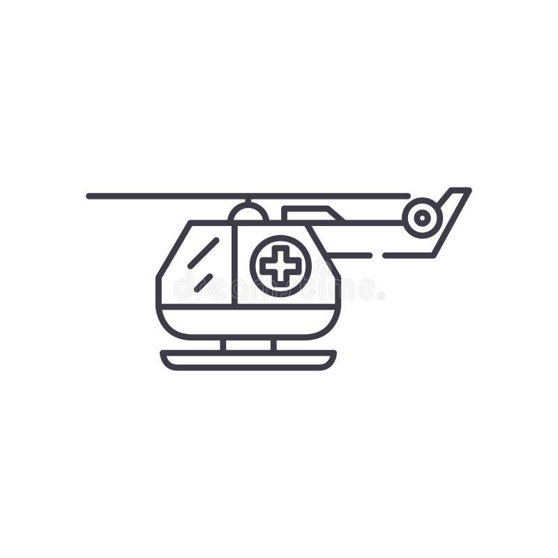 Ligne concept d'hélicoptère d'ambulance d'icône Illustration linéaire de vecteur d'hélicoptère d'ambulance, symbole, signe illustration libre de droits